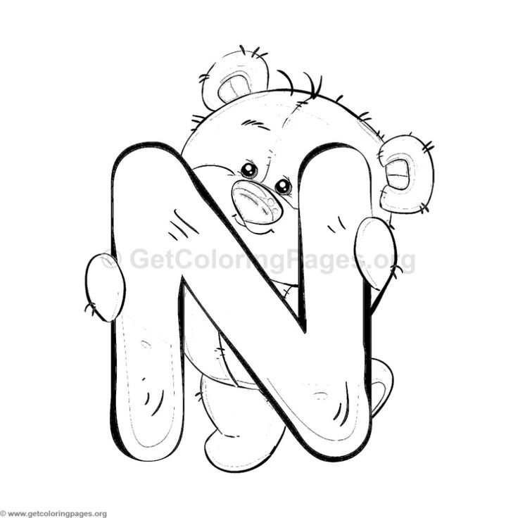 Teddy Bear Alphabet Letter N Coloring Pages