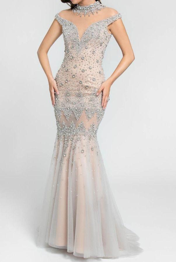 dfd6db3b11b Terani Couture Illusion Crystal Encrusted Mermaid Gown in Blush ...
