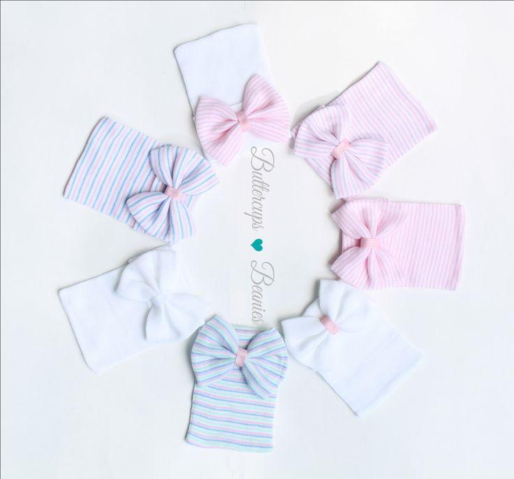 Baby girl gift, newborn hospital hat, coming home outfit, newborn outfit, infant girl hat, baby hospital hat, newborn hat, hospital bow hat by ButtercupsBeanies on Etsy https://www.etsy.com/listing/245266565/baby-girl-gift-newborn-hospital-hat