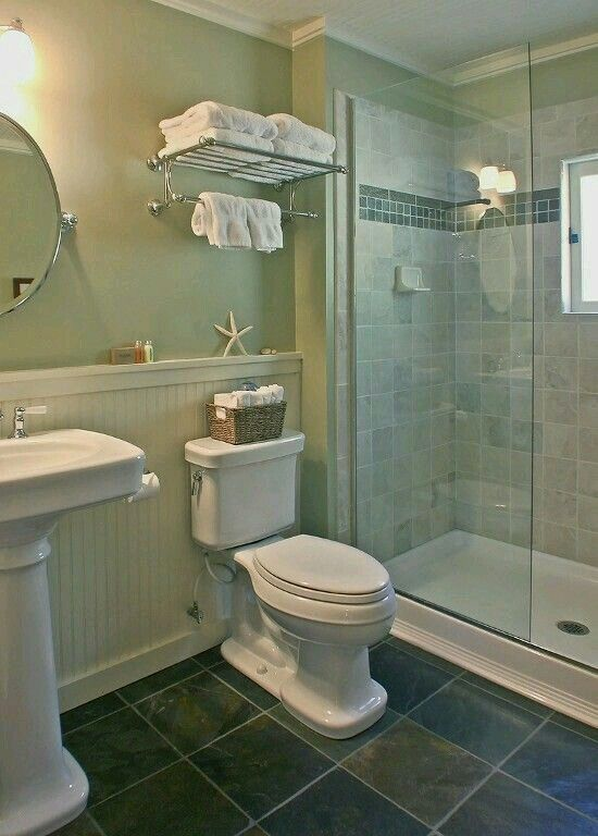 Like the use of beadboard slate tile accent strip in for Downstairs bathroom ideas