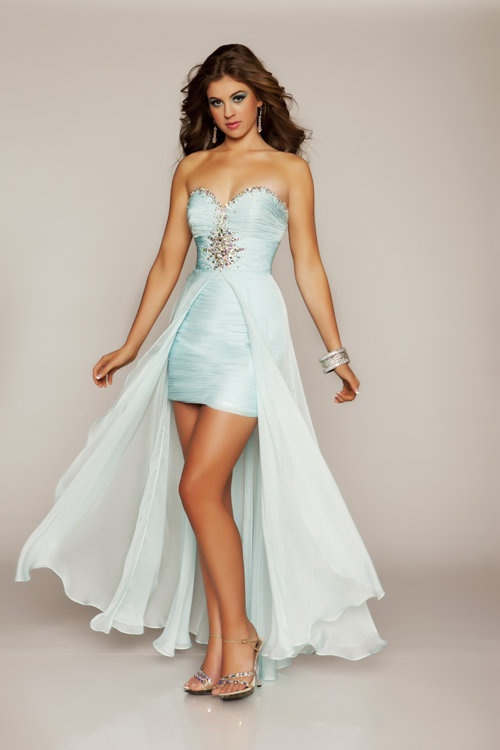 Ice Blue Chiffon Rhinestone Strapless Short Homecoming Dress with Train - Unique Vintage - Cocktail, Pinup, Holiday & Prom Dresses.