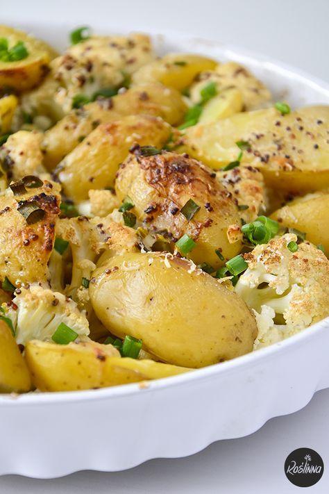 Roślinna : Młode ziemniaki i kalafior zapiekane pod sosem musztardowym