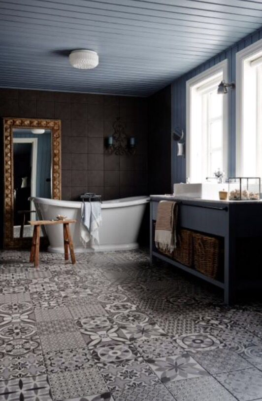"""These lovely bathroom floor tiles are from our feature """"Black Magic"""""""