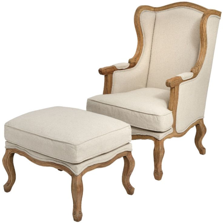 Natural Linen Wing Chair   Ottoman Also Available U2013 Allissias Attic U0026  Vintage French Style