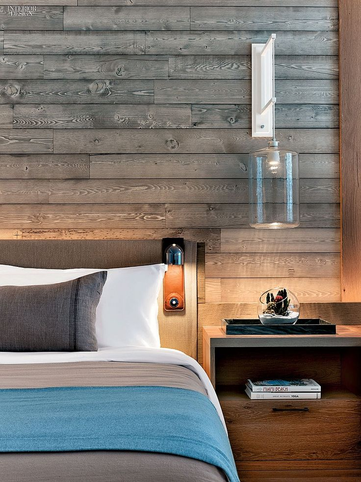 1 Hotel's Miami Beach Debut by Meyer Davis Studio | A standard guest room's wire-brushed oak headboard. #interiordesign #interiordesignmagazine #hotels #hospitality #bedrooms #MeyerDavisStudio