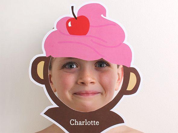 IJsjes-apen-masker die je kan personaliseren en downloaden, geweldig leuk! |  © tinyme