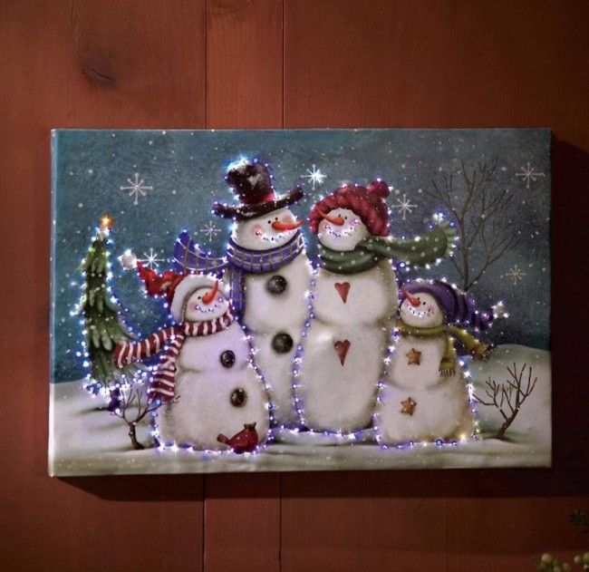 Christmas Paintings On Canvas | Lighted Snowman Wall Canvas Painting | Christmas