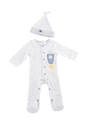Baby Aspen  White Cosmo Tot Spaceship 2-Piece Pajama Gift Set