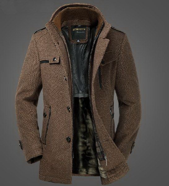 Mens Extra Thick Slim Fleece Wool Blazer Dual Standup Collar Coat Winter Jacket Graceful Grey BrownCN079  Fabric Content: Wool. Colors:Grey Brown or