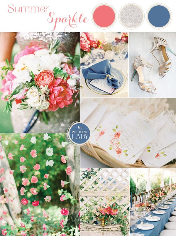 Summer Sparkle - Peony and Sequin Wedding Ideas in Coral, Ivory, and French Blue