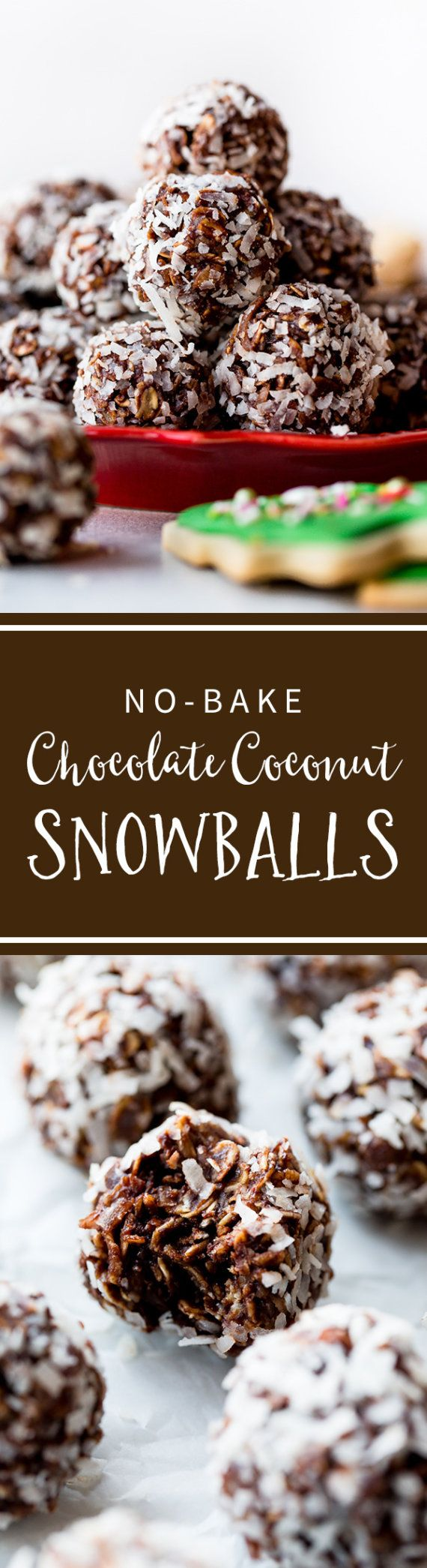 These no-bake chocolate and coconut snowball cookies are SO easy to make! Full of oats and cocoa and rolled in coconut to look like snowballs! Recipe on sallysbakingaddiction.com