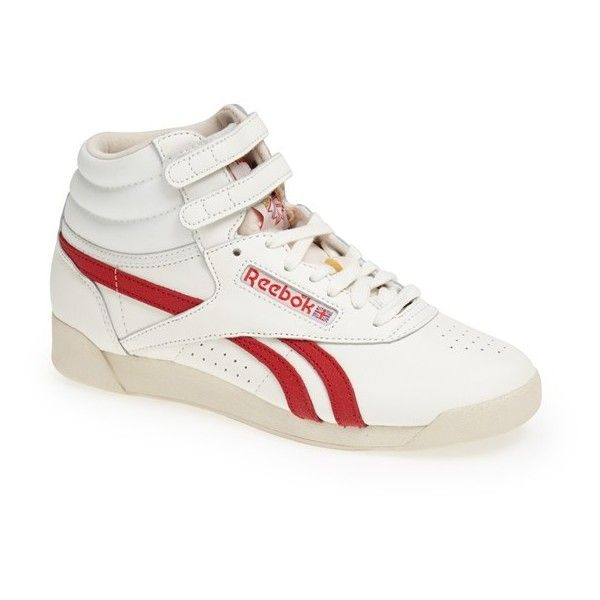 Reebok 'Freestyle Hi - Vintage' Sneaker ($35) ❤ liked on Polyvore featuring shoes, sneakers, reebok high tops, vintage shoes, reebok trainers, high top sneakers and reebok shoes