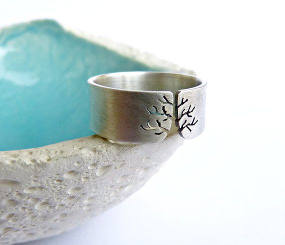 Autumn tree ring Sterling silver ring sanded wide band by Mirma, $71.00