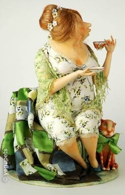 Green tea,  art doll by artist Olga E. Egupets