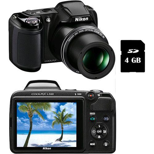 Câmera Digital Semi-Profissional Nikon L320 16MP Zoom óptico 26x Cartão 4 GB - Preta