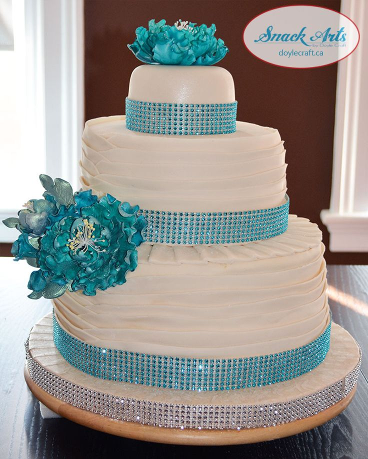Teal and Cream modern ruffle wedding cake