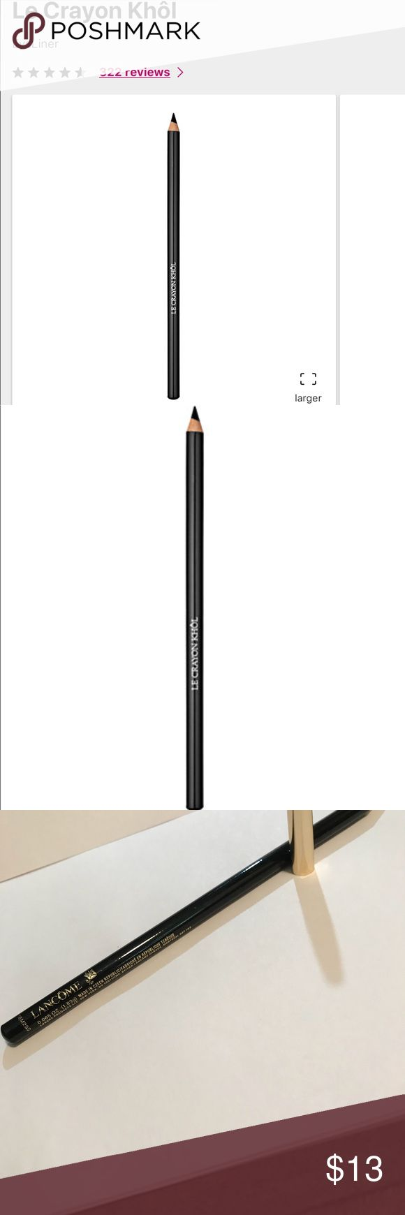 Lancôme👁Liner-Le Crayon Khol-602 Black Ebony New.no box. It has a chip off the top which can b seen in the last pic, so I included a sample size eyeliner also. Lancome Makeup Eyeliner