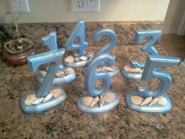 beach wedding table numbers I made :  wedding beach blue diy ivory numbers reception shells table white 052812124233