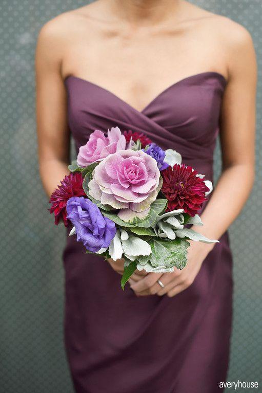 Love the dress color with flower combo. Merlot Dahlia, Purple Kale, Succulent, Dusty Miller,  Purple Lisianthus Bride...