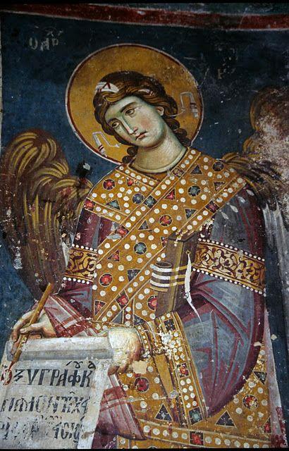 freska - Anđeo gospodnji - Bogorodica Perivlepta