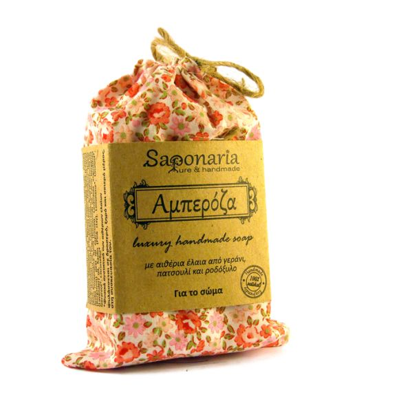 Amperoza soap with essential oils of geranium, patchouli and rosewood