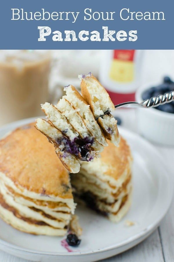Blueberry Sour Cream Pancakes The Fluffiest Most Delicious Blueberry Pancake Recipe B Sour Cream Pancakes Blueberry Pancakes Recipe Breakfast Recipes Easy