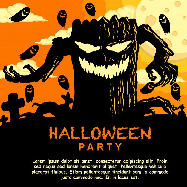 Halloween Party Invitation Template With Monster Tree Premium Vector