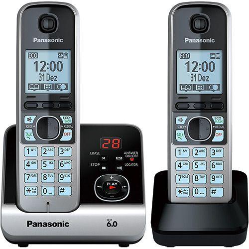 Telefone sem Fio Panasonic Silver com Black Piano Kx-Tg6722Lbb com Backup de Energia - Submarino.com