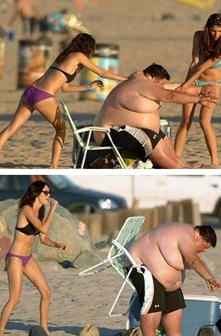 surrounded by fat ugly guys, on your beach vacation.