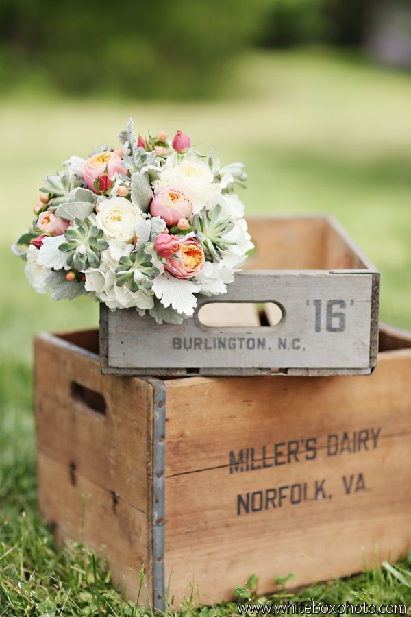 too cute! go shabby chic with this wedding bouquet http://michellewrightevents.com/