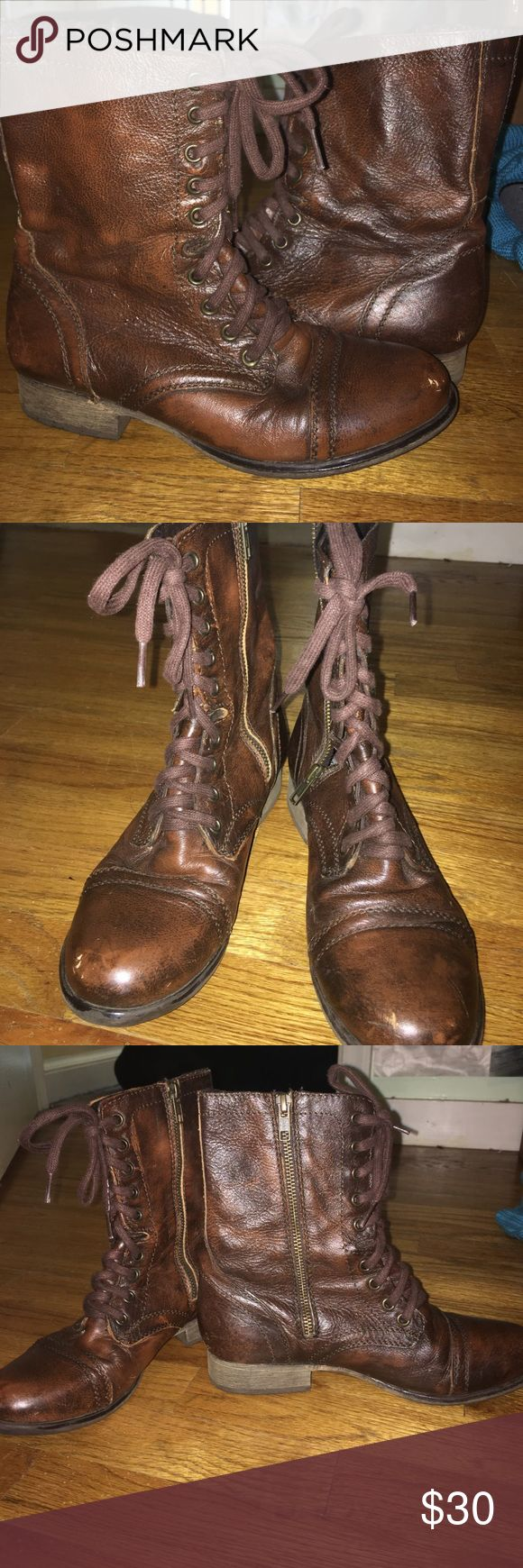 Steeve Madden Troopa Combat Boot Size 7.5. gently worn. Zipper and ties up. Steve Madden Shoes Combat & Moto Boots