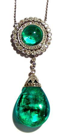 An antique emerald & diamond pendant. German, circa 1900. OH MY