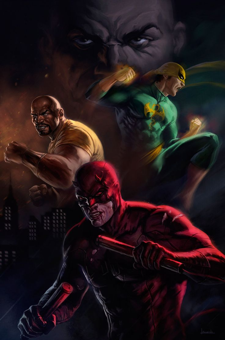 Daredevil, Iron Fist & Luke Cage by Leonardo  #DefendersofHellsKitchen