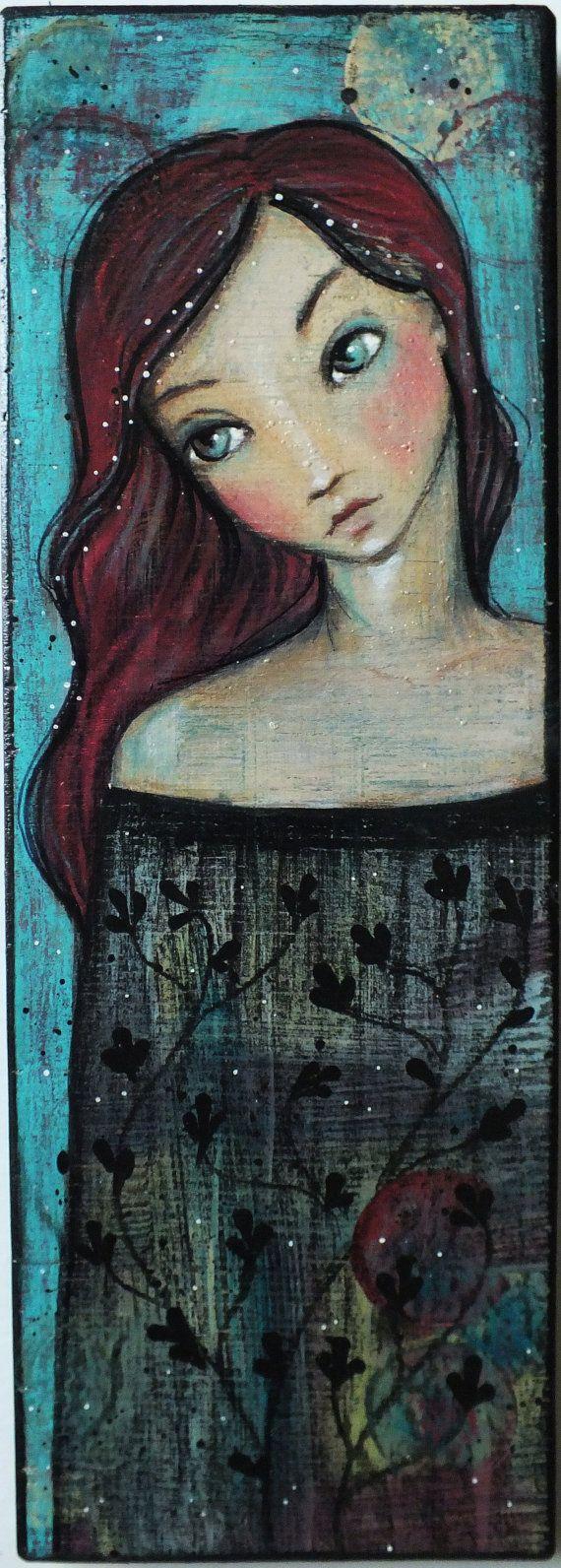 "OOAK Original Folk Art Woman ""Pondering"" acrylic colored pencil A. Kennedy black red aqua"