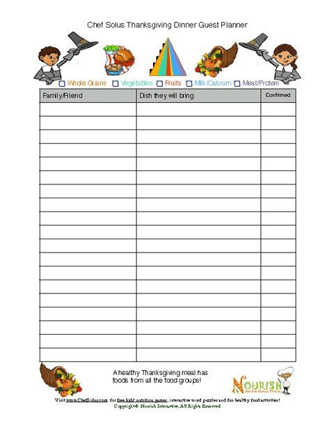 15 best Thanksgiving Printables images on Pinterest Healthy - food sign up sheet template