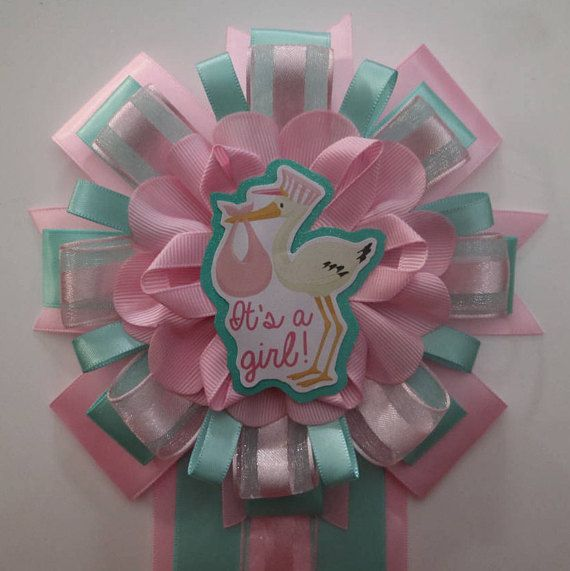Pink & Teal Baby Shower Stork It's a Girl Mommy Corsage