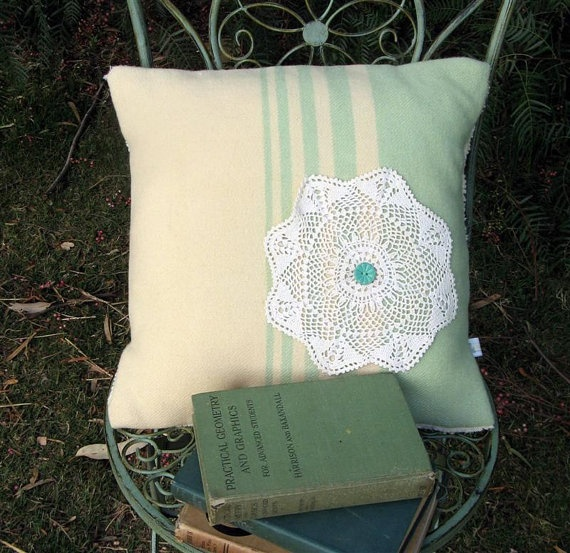 Upcycled Stripe Wool Blanket Cushion Cover by leahkl on Etsy, $30.00