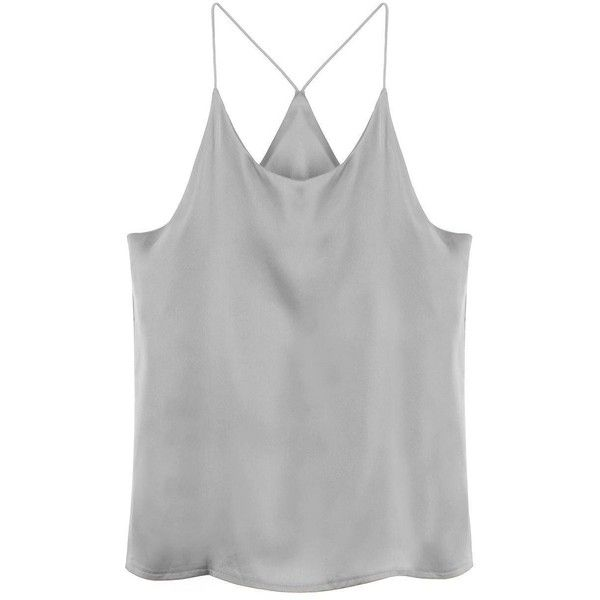 Yoins Grey Cami Top-Grey  One Size found on Polyvore featuring tops, shirts, tank tops, tanks, grey, camisoles & tank tops, gray shirt, racerback shirts, grey tank top and cami tank