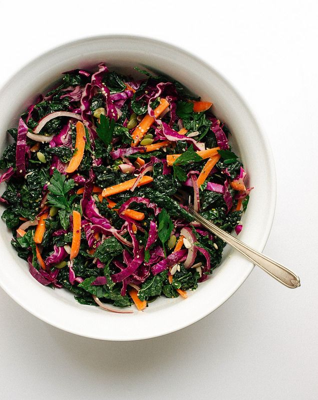 THE SIMPLE VEGANISTA: KALE + RED CABBAGE SLAW