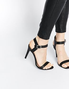 New Look Smart Black Strap Heeled Sandals