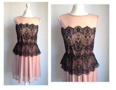 MISS SELFRIDGE pudrowa łososiowa sukienka koronka