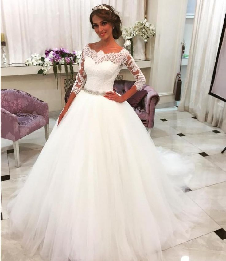 2016 Wedding Dresses with Elbow Length Sleeves Modest Spring Bridal Wedding Gowns with Beaded Belt Lace Scoop And Chapel Train 2016 Wedding Dresses Bridal Wedding Gowns Online with $222.86/Piece on Andybridal's Store | DHgate.com