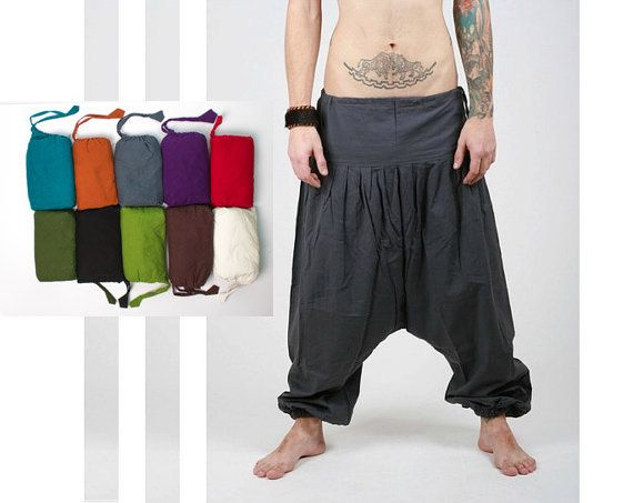 Black  Harem Pants -  Aladdin Pants - Harem Trousers - Yoga Pants - Cotton Afghani Pants - Alibaba Pants - Hammered - Men - Woman on Etsy, $25.00