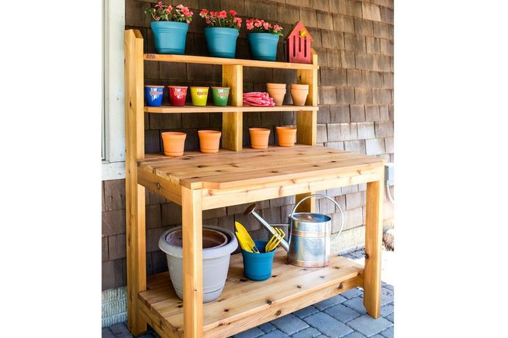 Create a great place for potting plants and gardening chores by building this tough, good-looking potting bench. This one is built from cedar to hold up to years of use outdoors. It looks so good that you might decide to use it as a serving station on your deck or patio, too.