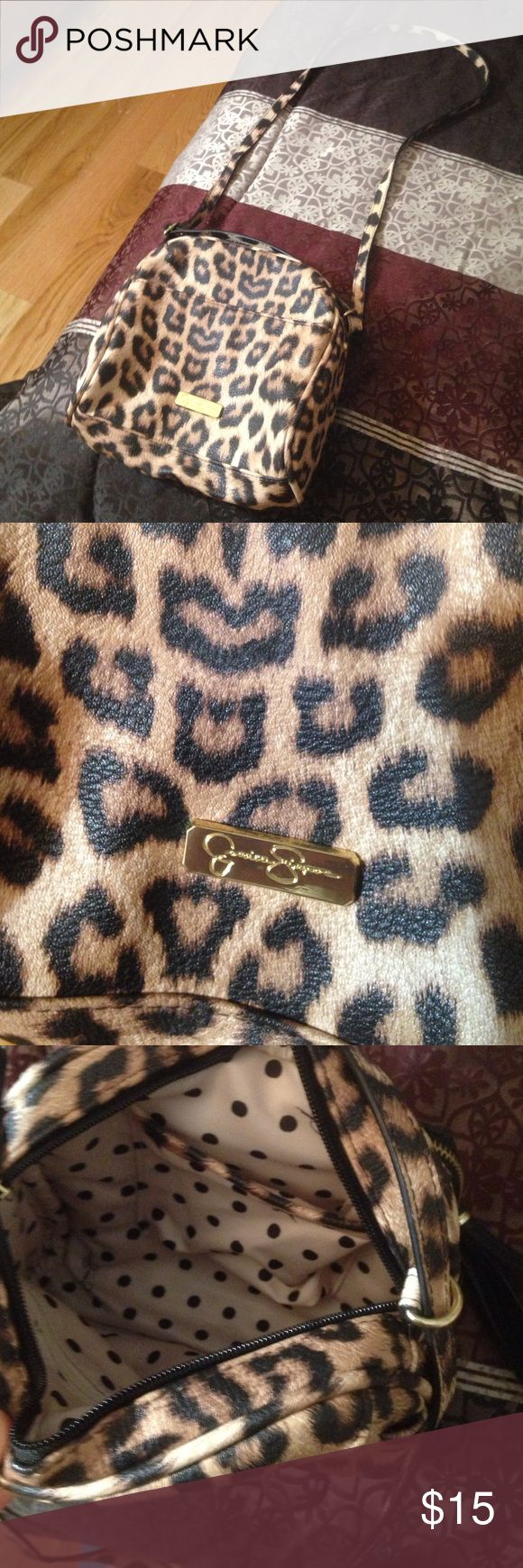 Jessica Simpson small cheetah purse Small Jessica Simpson cheetah purse. Like new, never used. Polka dots in the inside. Jessica Simpson Bags Shoulder Bags
