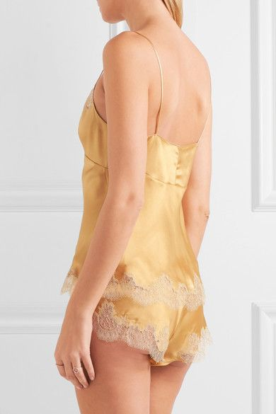 Carine Gilson - Metallic Embroidered Lace-trimmed Stretch-silk Satin Shorts - Gold - large