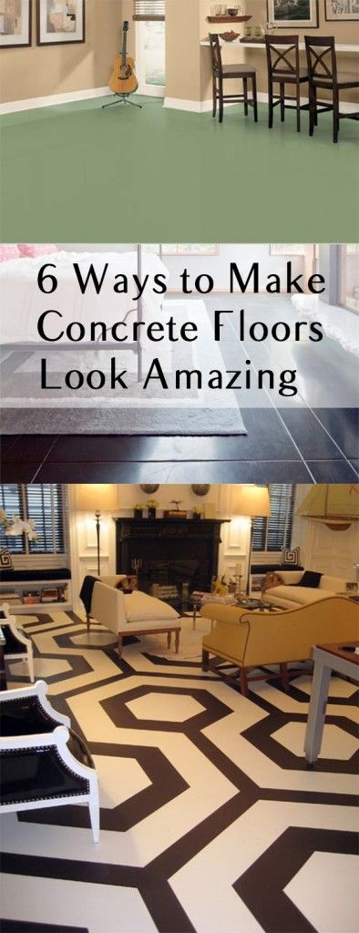 6 Ways to Make Concrete Floors Look Amazing. DIY, DIY home projects, home décor, home, dream home, DIY. projects, home improvement, inexpensive home improvement, cheap home DIY.