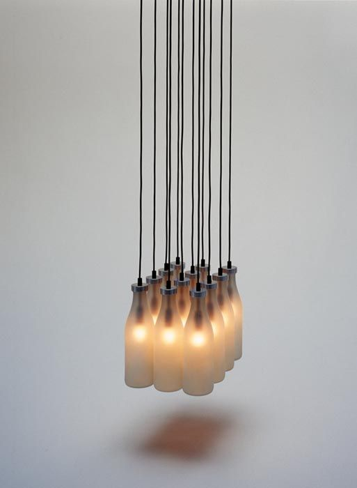 the original -- droog milk bottle chandelier from the 90s