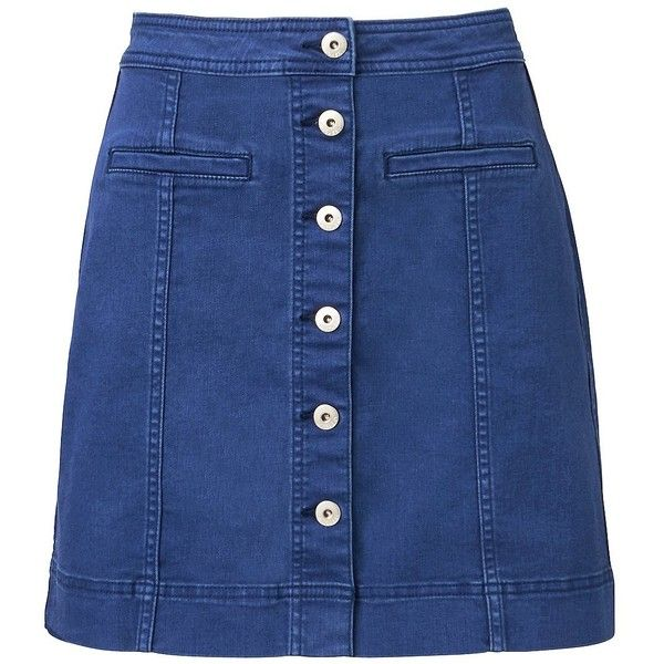 Witchery A Line Denim Skirt (2.515 UYU) ❤ liked on Polyvore featuring skirts, bottoms, saias, faldas, a line skirt, button up skirt, short a line skirt, button down skirt and knee length a line skirt