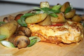 Omelet with potatoes and mushrooms